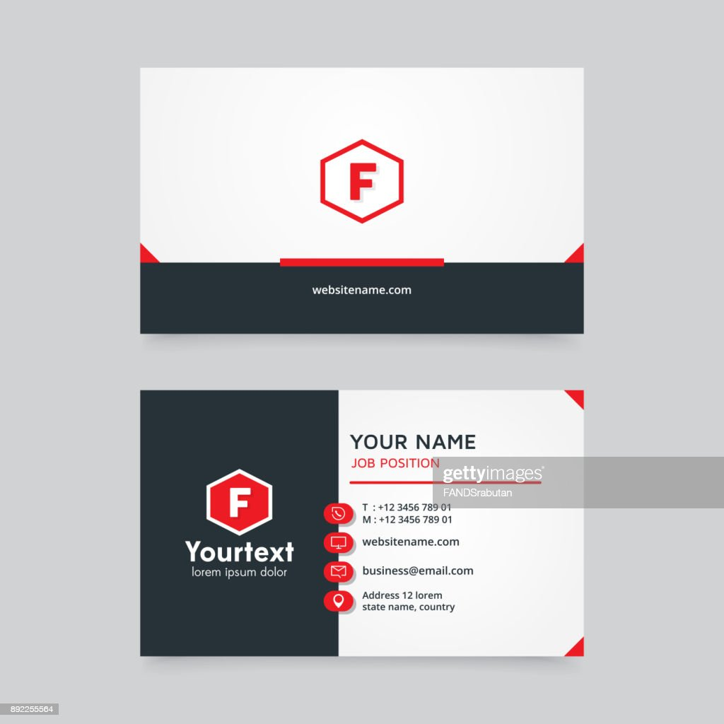 Modern creative and clean business card with red and white color