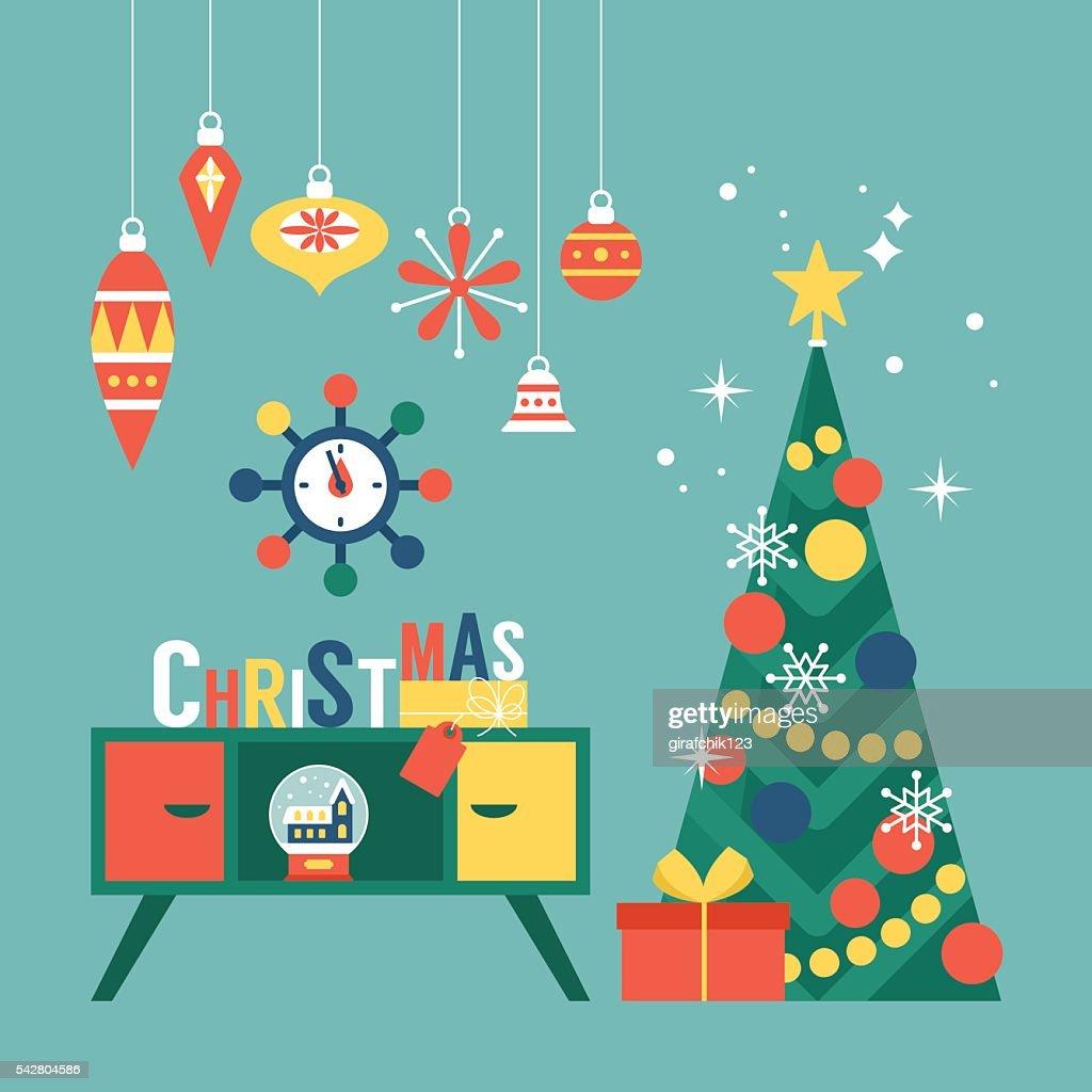 Modern creative christmas greeting card design with christmas tree modern creative christmas greeting card design with christmas tree vector art m4hsunfo