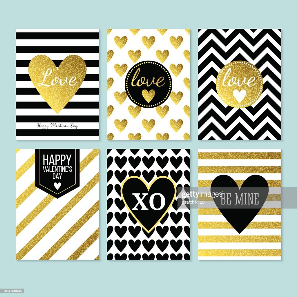 Modern creative Valentine's day cards in black, gold and white.