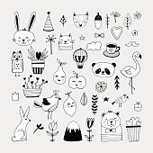 Modern cute animals and nature elemets black and white