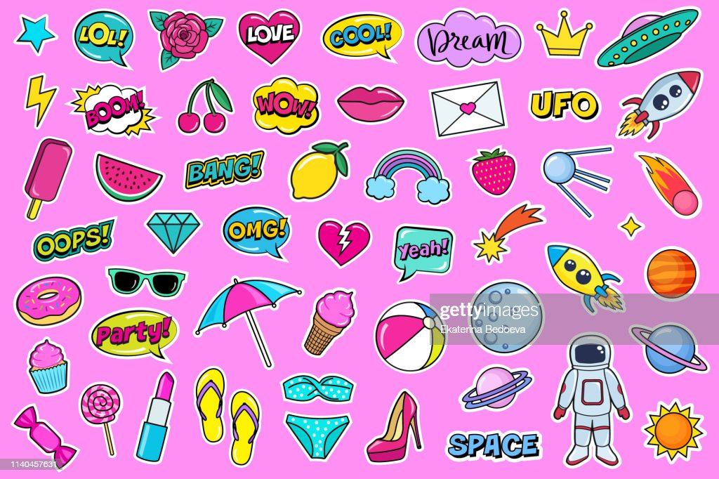 Modern cute colorful patch set. Fashion patches of cherry, strawberry, watermelon, lips, rose flower, rainbow, hearts, comic bubbles etc. Cartoon 80s-90s style.