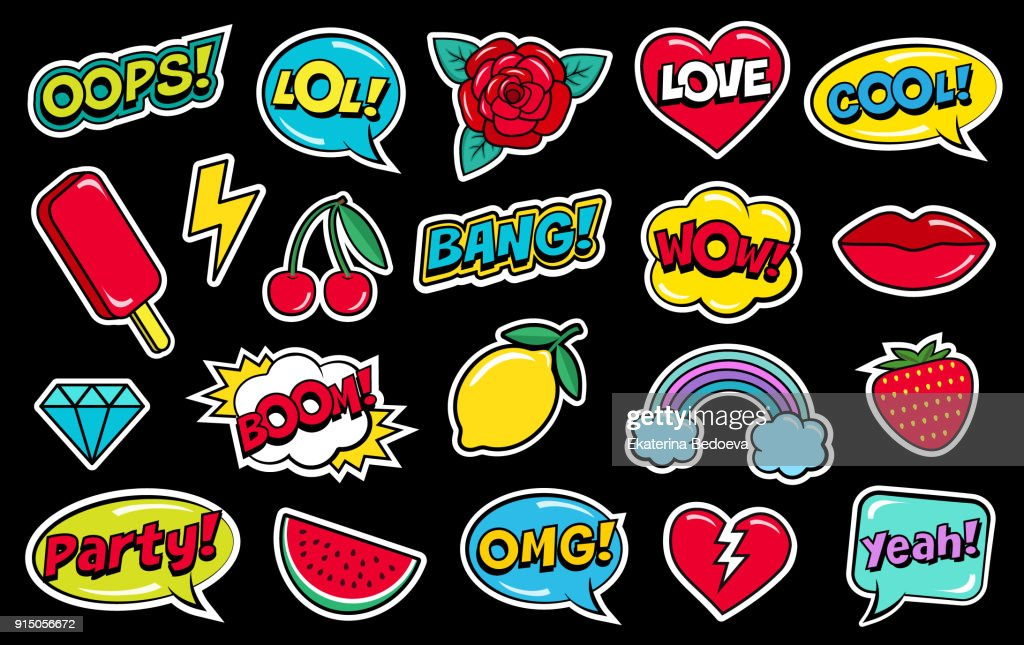 Modern cute colorful patch set on black background. Fashion patches of cherry, strawberry, watermelon, lips, rose flower, rainbow, hearts, comic bubbles etc.