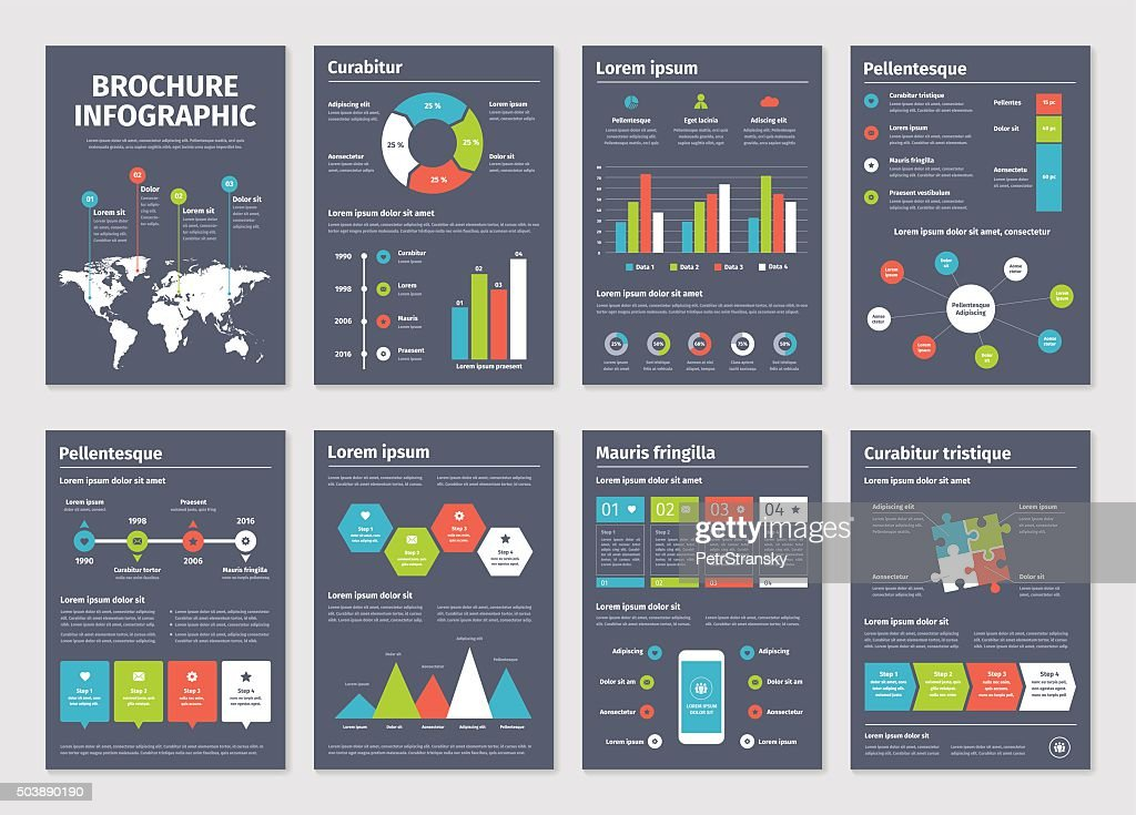 Modern dark business infographic brochure template