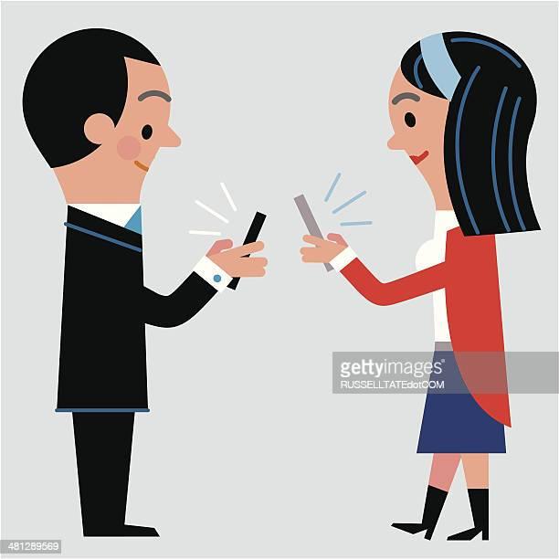 modern dating - flirting stock illustrations, clip art, cartoons, & icons