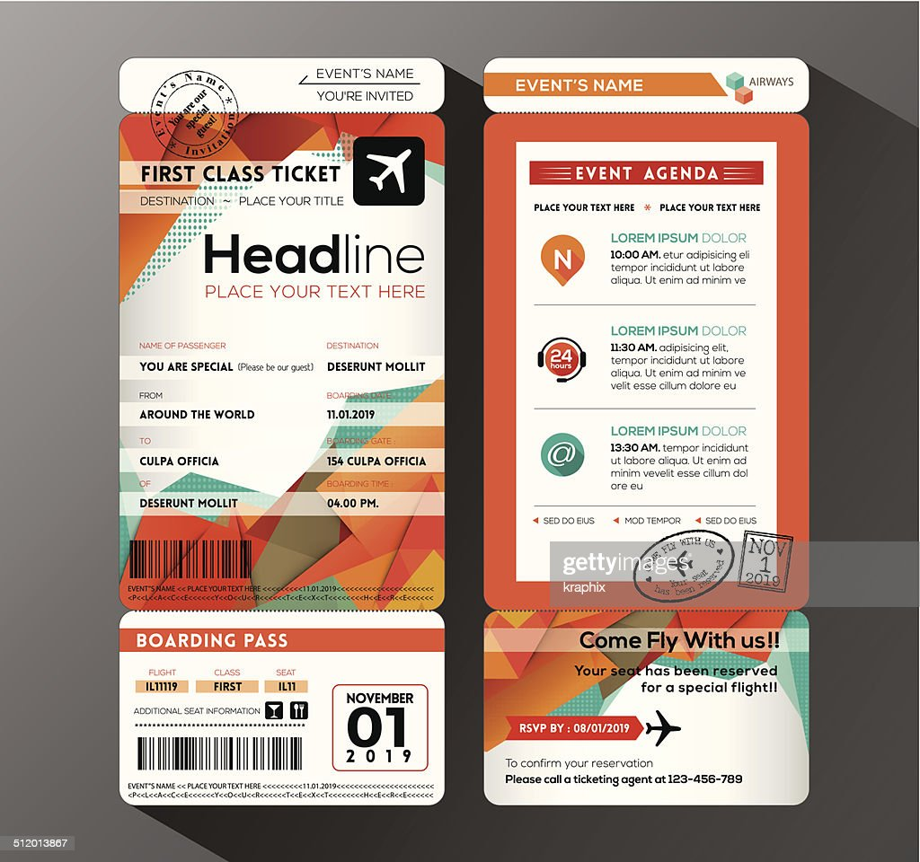 Modern design Boarding Pass Ticket Event Invitation card vector