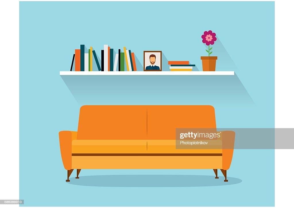 Modern design interior orange sofa and bookshelves. Retro flat style.
