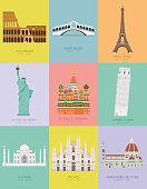 Modern design poster with colorful background of nine important monuments of the world Vector illustration