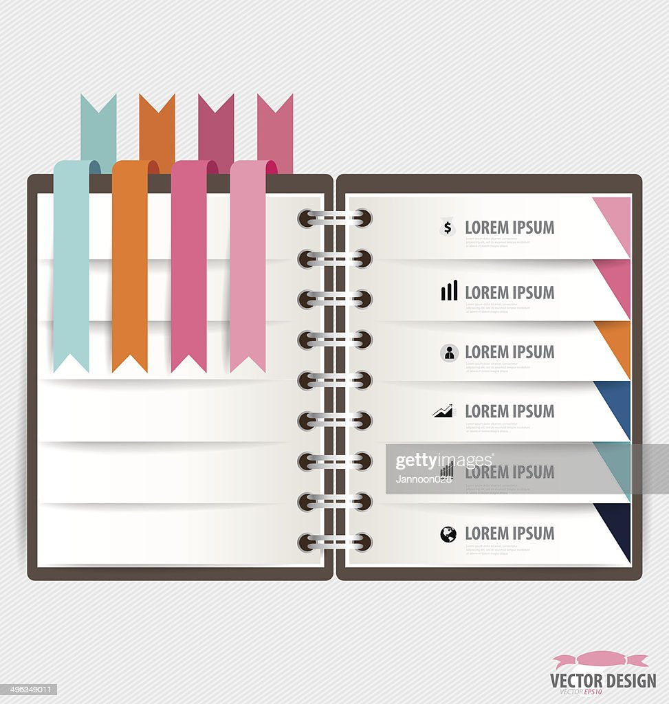 Modern Design Template Of Notebook With Ribbons Infographics ...