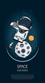Modern design vector illustration with astronaut in space. universe exploration