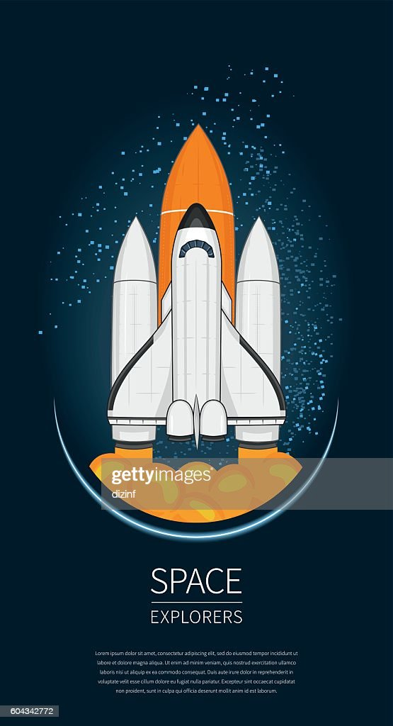 Modern design vector illustration with Space Shuttle Launch. universe exploration
