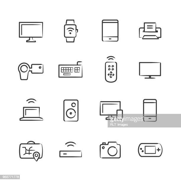 modern device icons — sketchy series - smart watch stock illustrations
