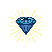 Modern diamond flat icon. Brilliant idea. Smart solutions. Flat vector design with lines