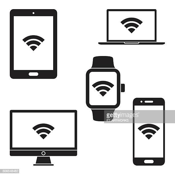 modern digital devices icons. vector - wireless technology stock illustrations