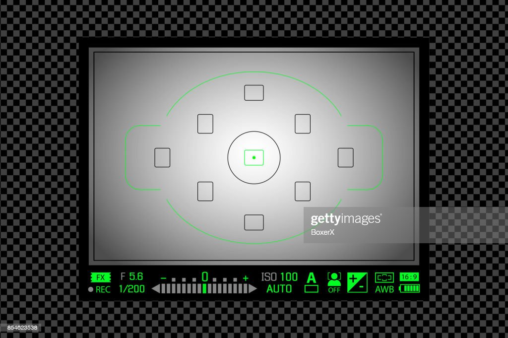 Modern digital DSLR camera focusing screen with settings. White framed viewfinder camera recording template. Vector illustration