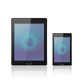Modern digital tablet PC with mobile smartphone isolated on the
