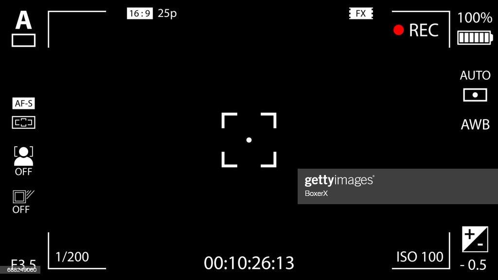 Modern digital video camera focusing screen with settings. Black viewfinder camera recording. Vector illustration
