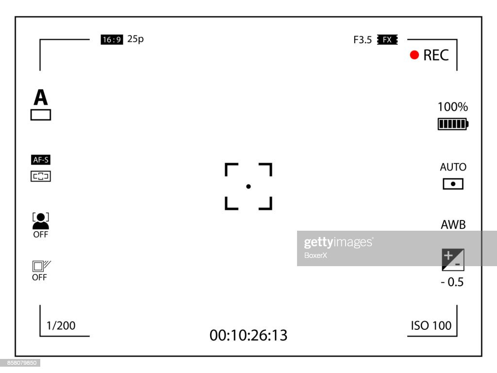 Modern digital video camera focusing screen with settings. White framed viewfinder camera recording. Vector illustration