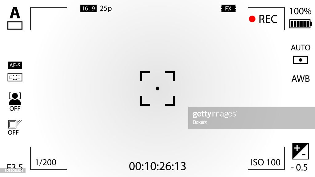Modern digital video camera focusing screen with settings. White gradient viewfinder camera recording. Vector illustration