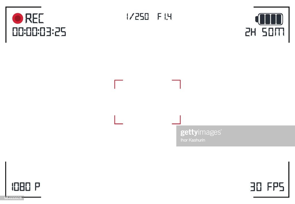 Modern digital video camera focusing screen with settings. White viewfinder camera recording. Vector illustration