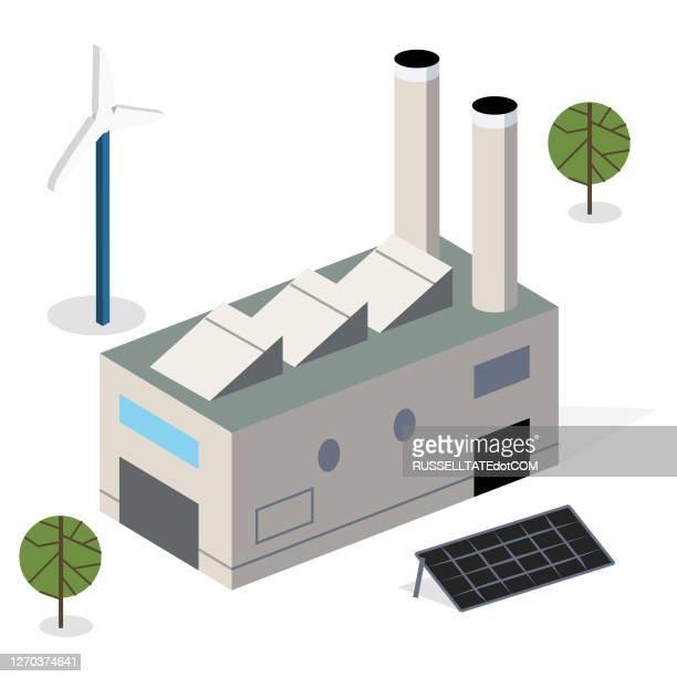 ソーラーパネルと風車を備えた近代的なエコ施設 - 風車塔点のイラスト素材/クリップアート素材/マンガ素材/アイコン素材