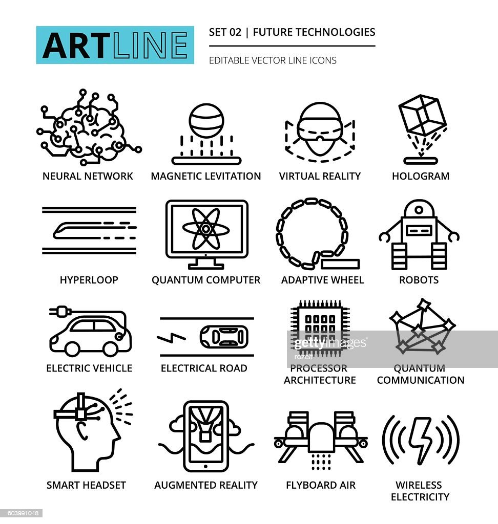 Modern editable vector line icons set of future technologies and