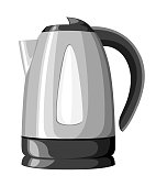 Modern electric kettle black plastic and stainless steel vector illustration isolated on white background