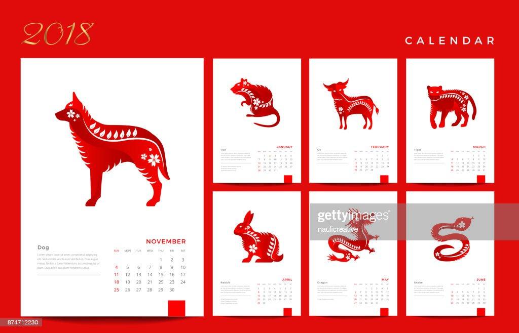 Modern Elegant Animals of the Chinese Zodiac 2018 Calendar Illustration