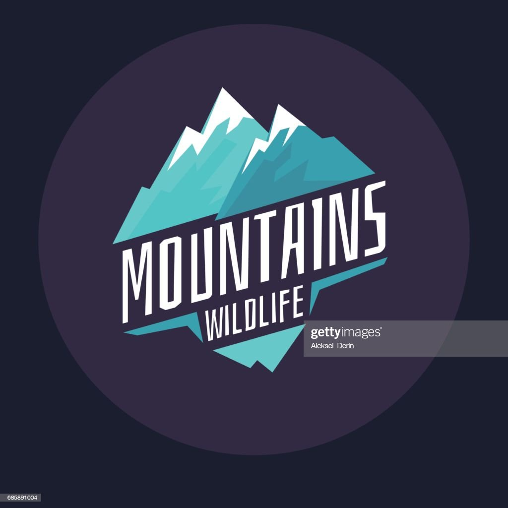 Modern emblem mountains with snow in the circle on a dark background