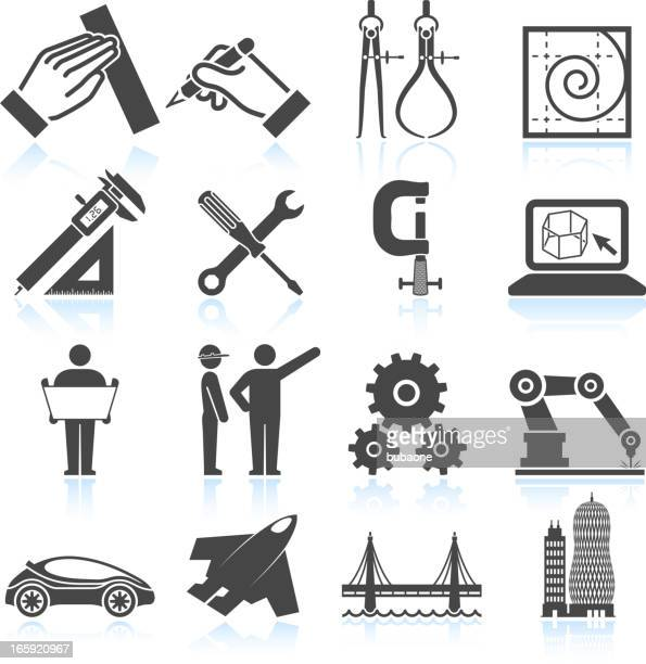 Modern Engineering Architecture and Construction black & white icon set