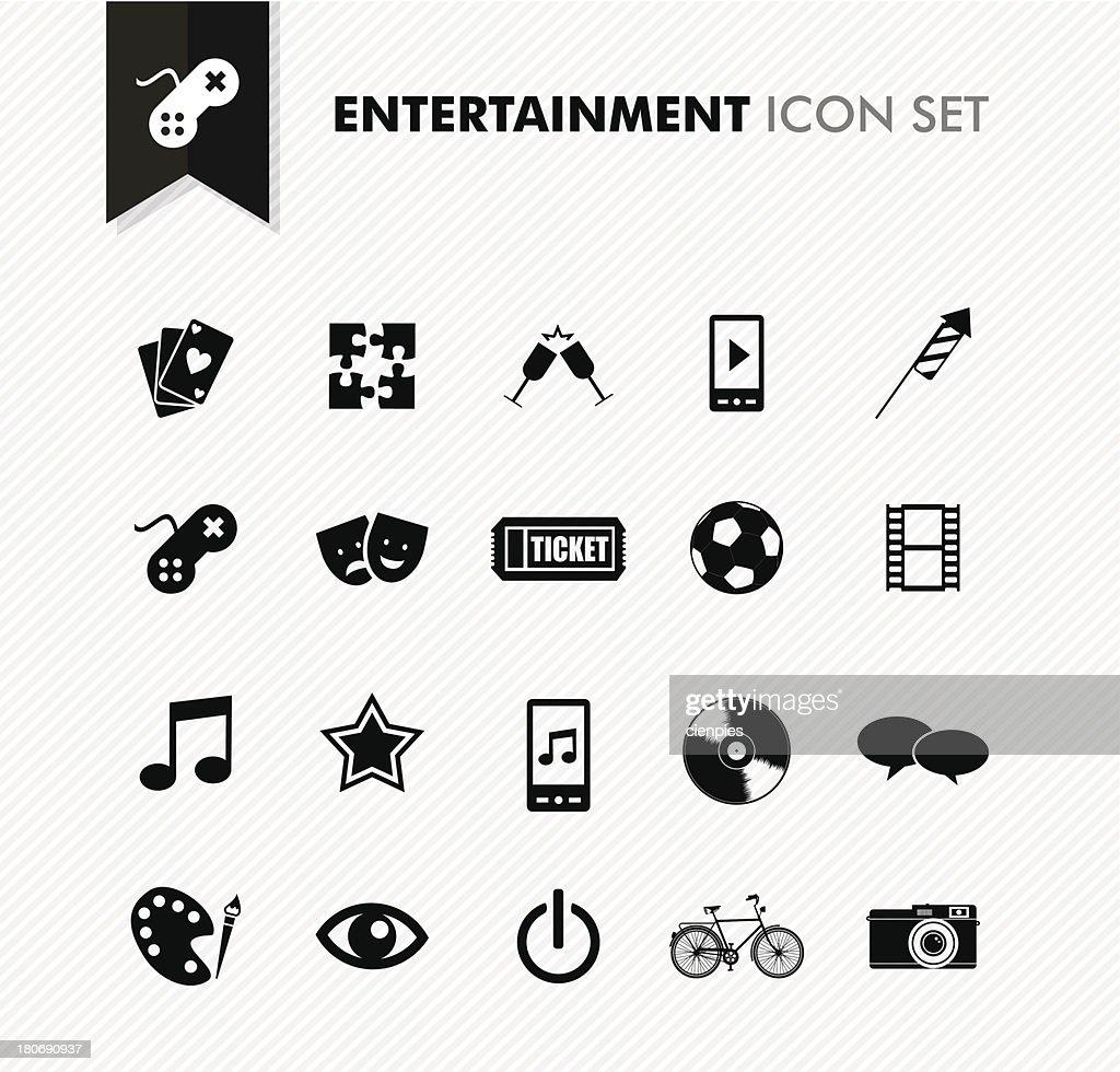 Modern entertainment leisure and fun icon set.