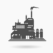 Modern Factory Building Icon Vector Illustration Silhouette