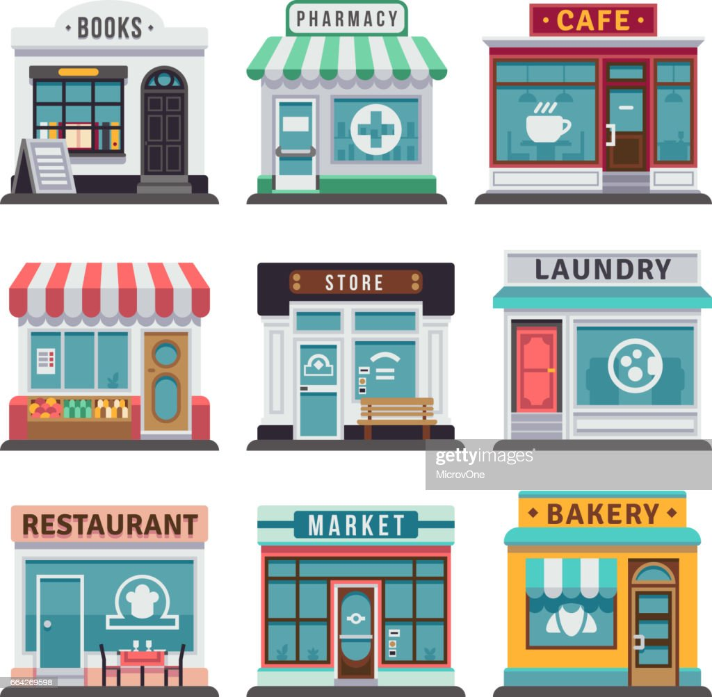 Modern fast food restaurant and shop buildings, store facades, boutiques with showcase flat icons