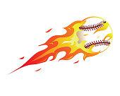 Modern Flaming Baseball Meteor Ball Illustration