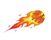 Modern Flaming Basketball Meteor Ball Illustration