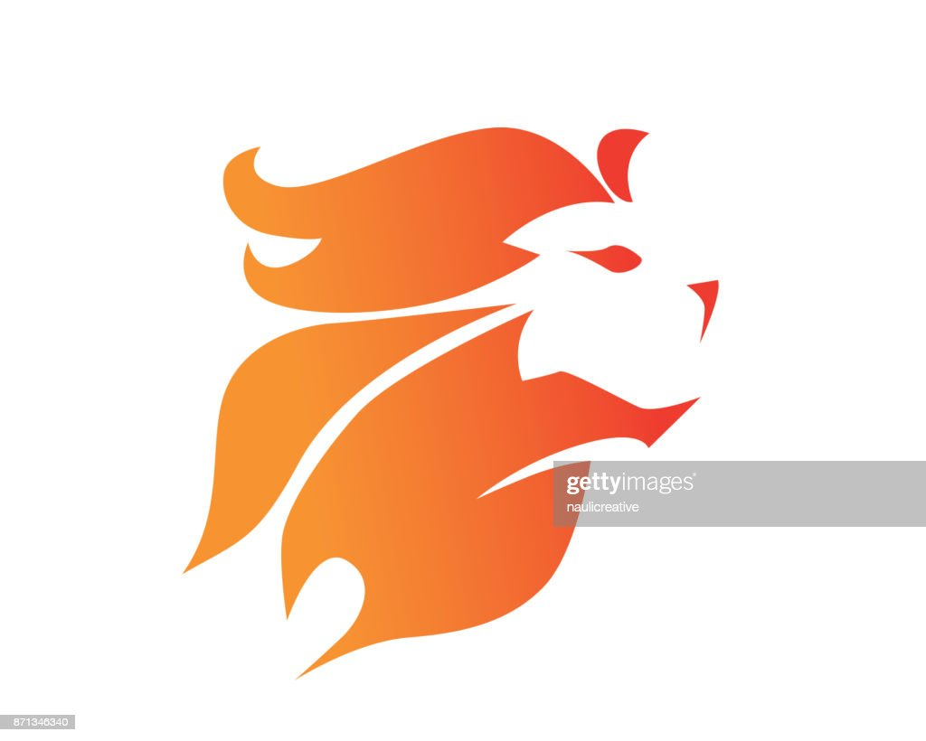 Modern Flaming Brave Lion Symbol Illustration