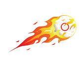 Modern Flaming Cricket Ball Meteor Ball Illustration