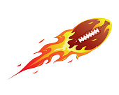 Modern Flaming Football Meteor Ball Illustration