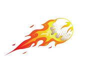 Modern Flaming Golf Meteor Ball Illustration