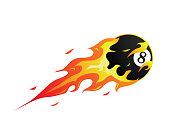 Modern Flaming Pool Meteor Ball Illustration