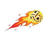 Modern Flaming Sepak Takraw Meteor Ball Illustration