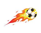 Modern Flaming Soccer Meteor Ball Illustration