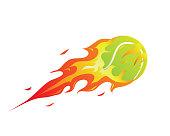 Modern Flaming Tennis Meteor Ball Illustration