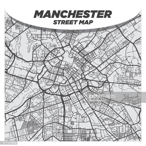 modern flat black and white city street map of downtown manchester uk - manchester england stock illustrations