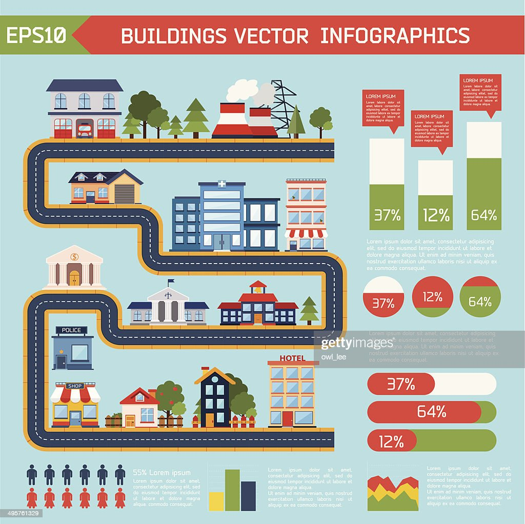 Modern flat city background infographics with text fields