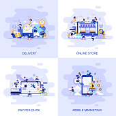 Modern flat concept web banner of Online Store, Pay Per Click, Mobile Marketing and Delivery with decorated small people character.
