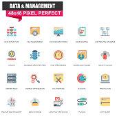 Modern flat data organization and management icons set