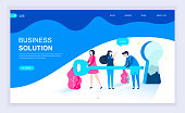 Modern flat design concept of Business Solution with decorated small people character for website