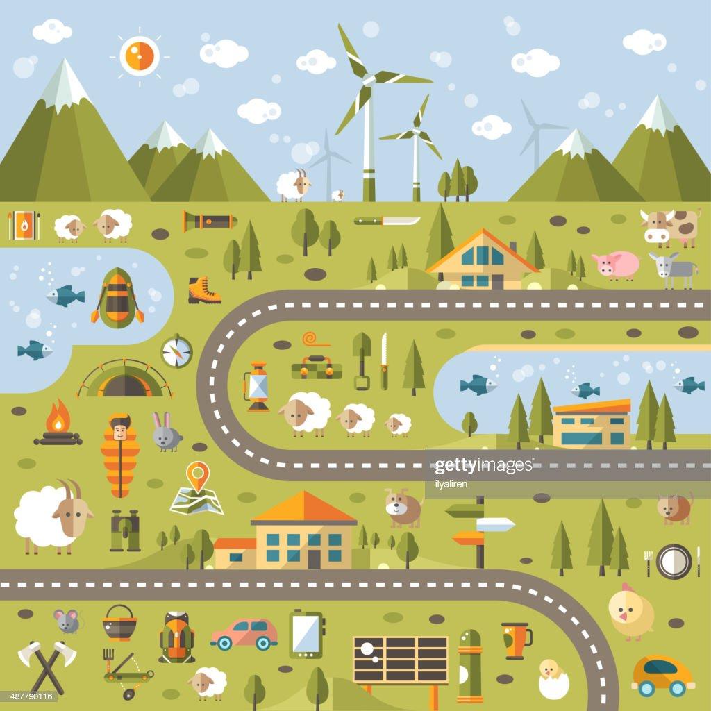 Modern flat design conceptual landscape illustration with info graphic elements