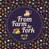 Modern flat design farm and agriculture icons flyer template