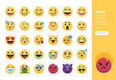 Modern flat design icons set of Emoji. 48x48 Pixel Perfect icon. High-quality Flat icon design.